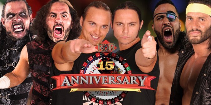 Broken Hardys, the Young Bucks, Roppongi Vice - Ring of Honor 15th Anniversary Poster - Photo Credit: Broken Matt Hardy/Ring of Honor via Twitter